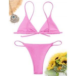 🌻 Zaful Bikini Neon Pink Triangle with Thong
